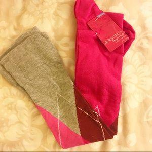 Thigh high argyle socks
